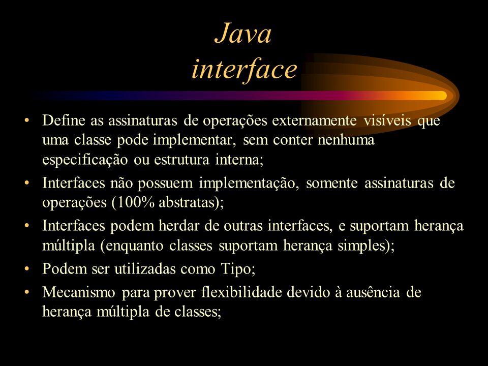 Java interface Define as assinaturas de operações externamente visíveis que uma classe pode implementar, sem conter nenhuma especificação ou estrutura