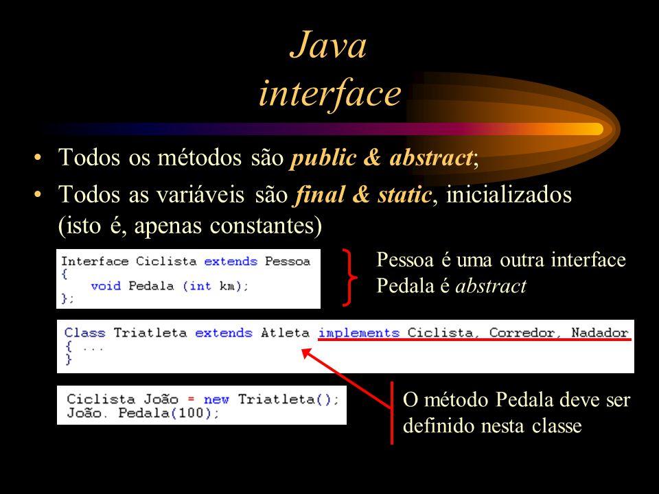 Java interface Todos os métodos são public & abstract; Todos as variáveis são final & static, inicializados (isto é, apenas constantes) Pessoa é uma o