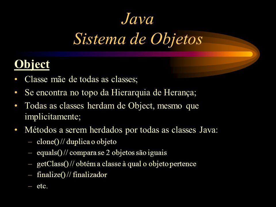 Java Sistema de Objetos Object Classe mãe de todas as classes; Se encontra no topo da Hierarquia de Herança; Todas as classes herdam de Object, mesmo