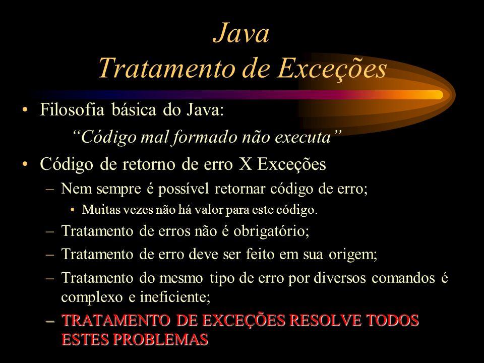 """Java Tratamento de Exceções Filosofia básica do Java: """"Código mal formado não executa"""" Código de retorno de erro X Exceções –Nem sempre é possível ret"""