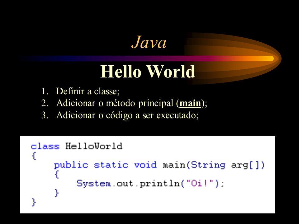 Java Hello World 1.Definir a classe; 2.Adicionar o método principal (main); 3.Adicionar o código a ser executado;