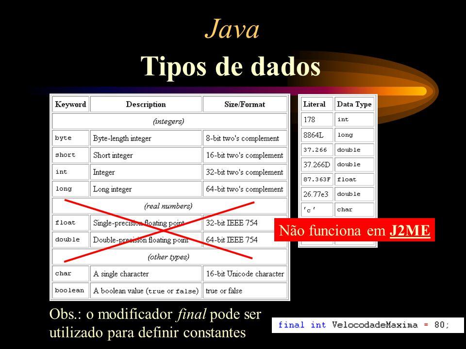 Java Tipos de dados Não funciona em J2ME Obs.: o modificador final pode ser utilizado para definir constantes
