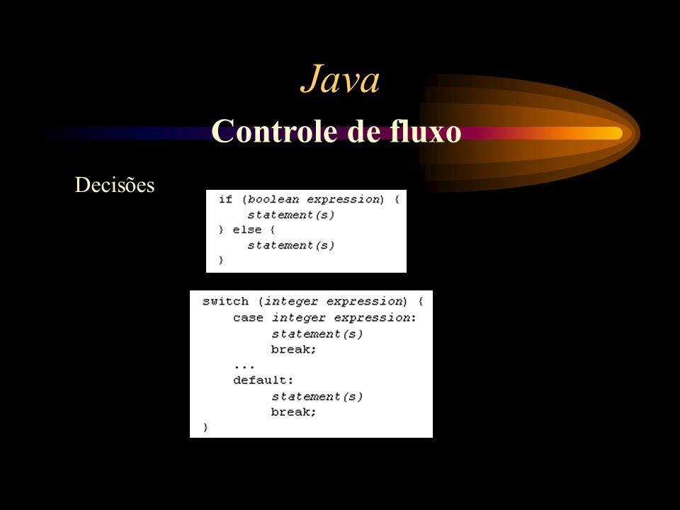 Java Controle de fluxo Decisões