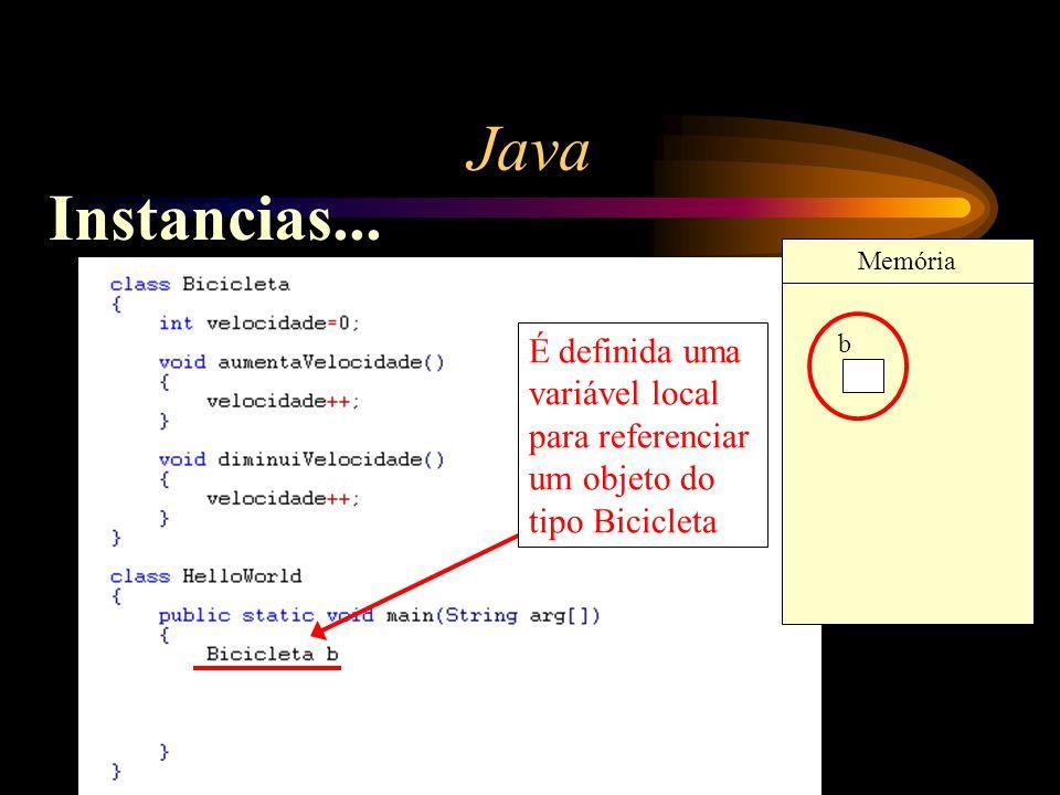 Java É definida uma variável local para referenciar um objeto do tipo Bicicleta b Memória Instancias...