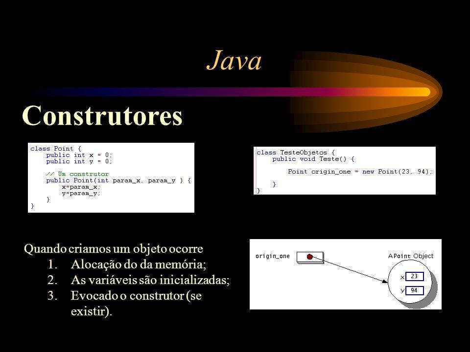 Java Construtores Quando criamos um objeto ocorre 1.Alocação do da memória; 2.As variáveis são inicializadas; 3.Evocado o construtor (se existir).