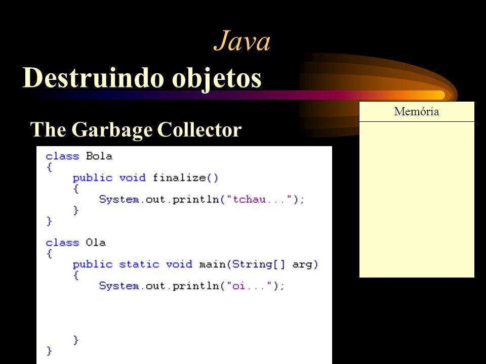 Java Destruindo objetos The Garbage Collector Memória