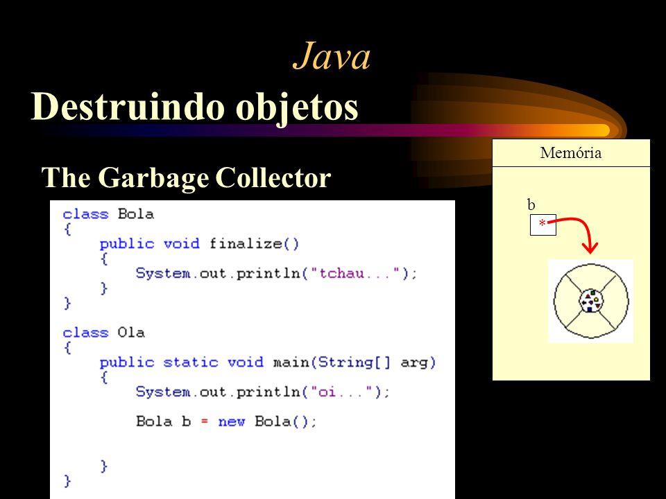Java Destruindo objetos The Garbage Collector * b Memória
