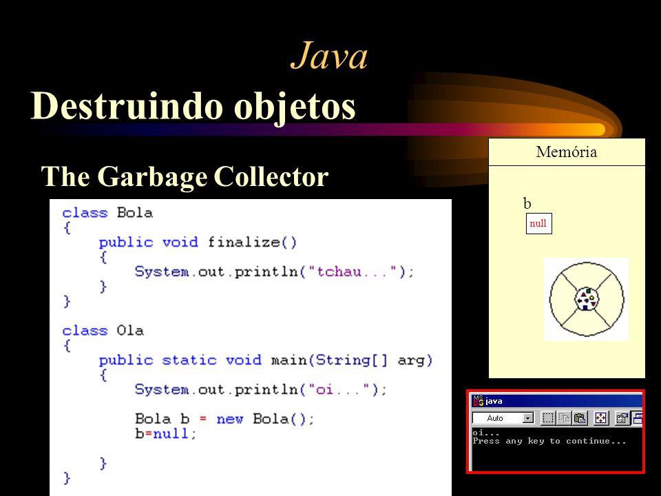 Java Destruindo objetos The Garbage Collector null b Memória