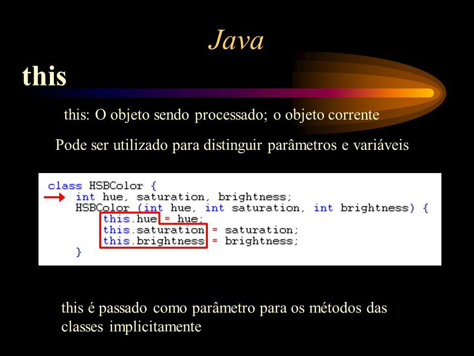 ? Java this Pode ser utilizado para distinguir parâmetros e variáveis this: O objeto sendo processado; o objeto corrente this é passado como parâmetro