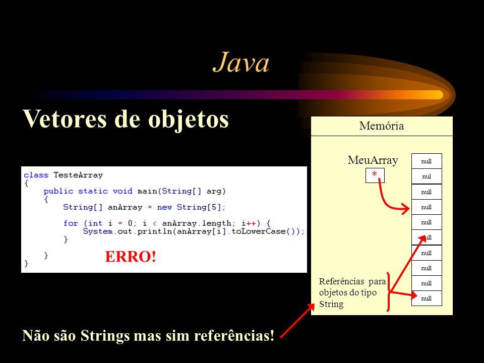 Java Vetores de objetos * MeuArray Memória Referências para objetos do tipo String Não são Strings mas sim referências! ERRO! null nul null