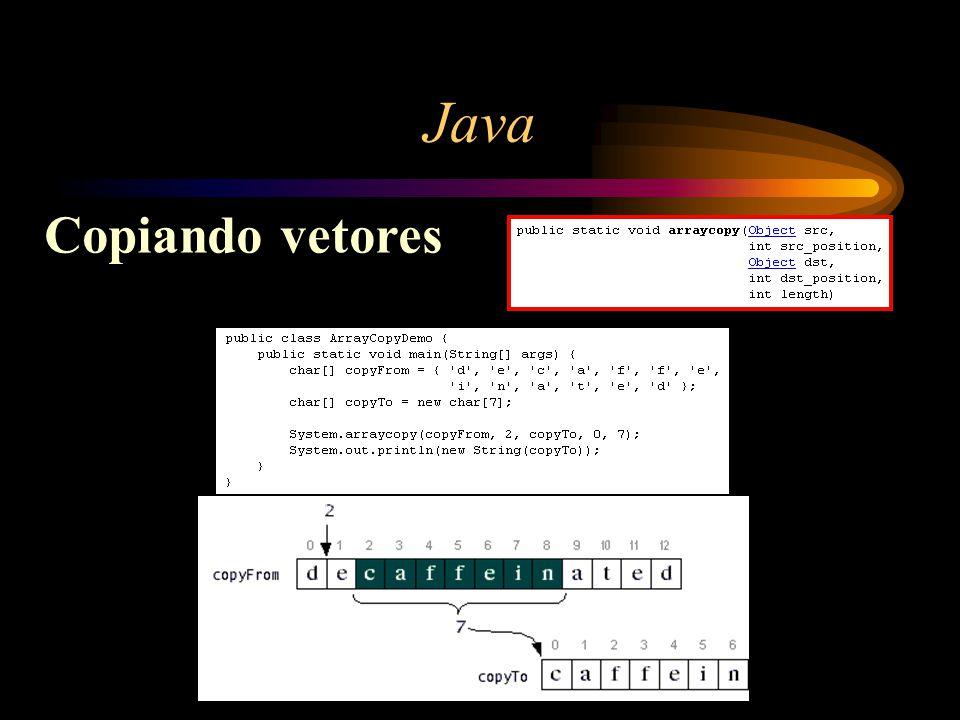 Java Copiando vetores