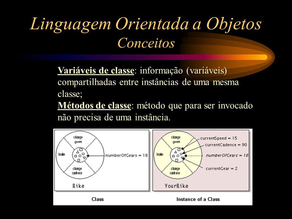 Linguagem Orientada a Objetos Conceitos Variáveis de classe: informação (variáveis) compartilhadas entre instâncias de uma mesma classe; Métodos de cl