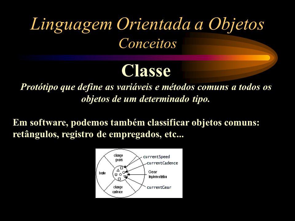 Linguagem Orientada a Objetos Conceitos Classe Classe Bicicleta Objetos (instâncias) da classe Bicicleta Em software, instâncias alocam um espaço de memória especificado no seu protótipo (CLASSE).