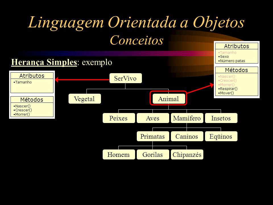 Linguagem Orientada a Objetos Conceitos Herança Simples: exemplo SerVivo VegetalAnimal PeixesAvesMamíferoInsetos PrimatasCaninosEqüinos HomemGorilasCh