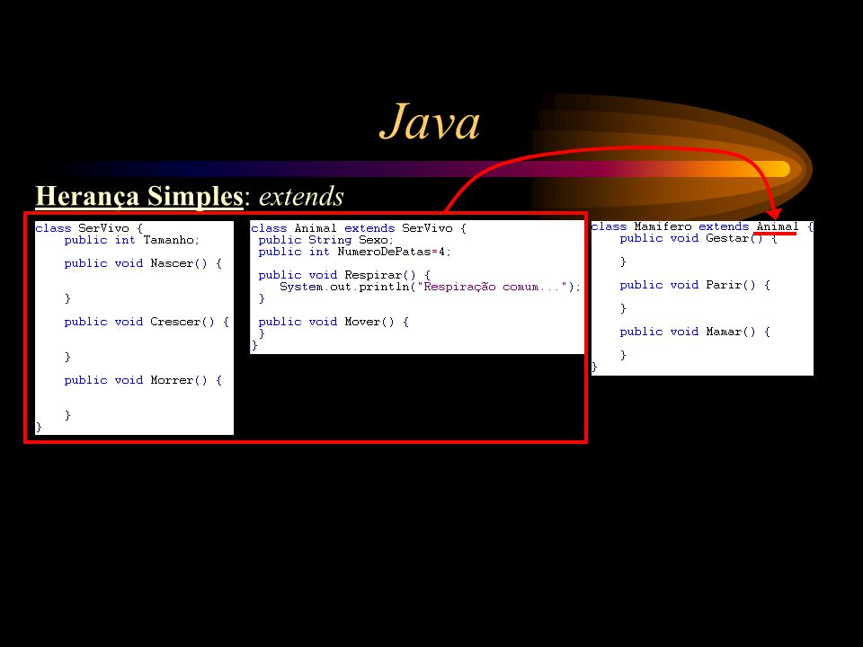 Java Herança Simples: extends