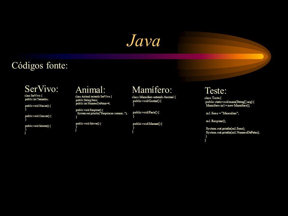 Java Códigos fonte: SerVivo: class SerVivo { public int Tamanho; public void Nascer() { } public void Crescer() { } public void Morrer() { } Animal: c
