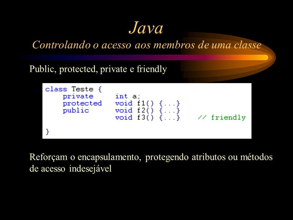 Java Controlando o acesso aos membros de uma classe Public, protected, private e friendly Reforçam o encapsulamento, protegendo atributos ou métodos d