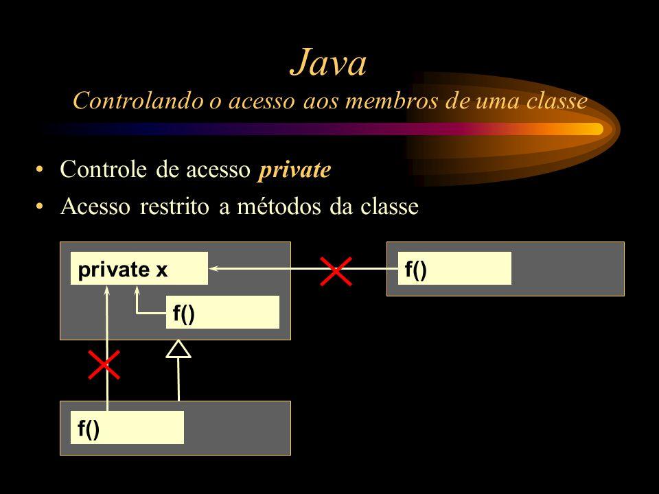 Java Controlando o acesso aos membros de uma classe Controle de acesso private Acesso restrito a métodos da classe private xf()