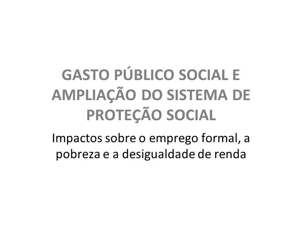 GASTO PÚBLICO SOCIAL E AMPLIAÇÃO DO SISTEMA DE PROTEÇÃO SOCIAL Impactos sobre o emprego formal, a pobreza e a desigualdade de renda