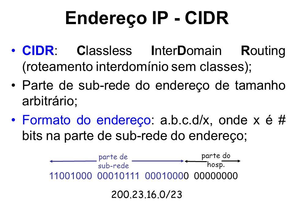 Endereço IP - CIDR CIDR: Classless InterDomain Routing (roteamento interdomínio sem classes); Parte de sub-rede do endereço de tamanho arbitrário; Formato do endereço: a.b.c.d/x, onde x é # bits na parte de sub-rede do endereço; 11001000 00010111 00010000 00000000 parte de sub-rede parte do hosp.