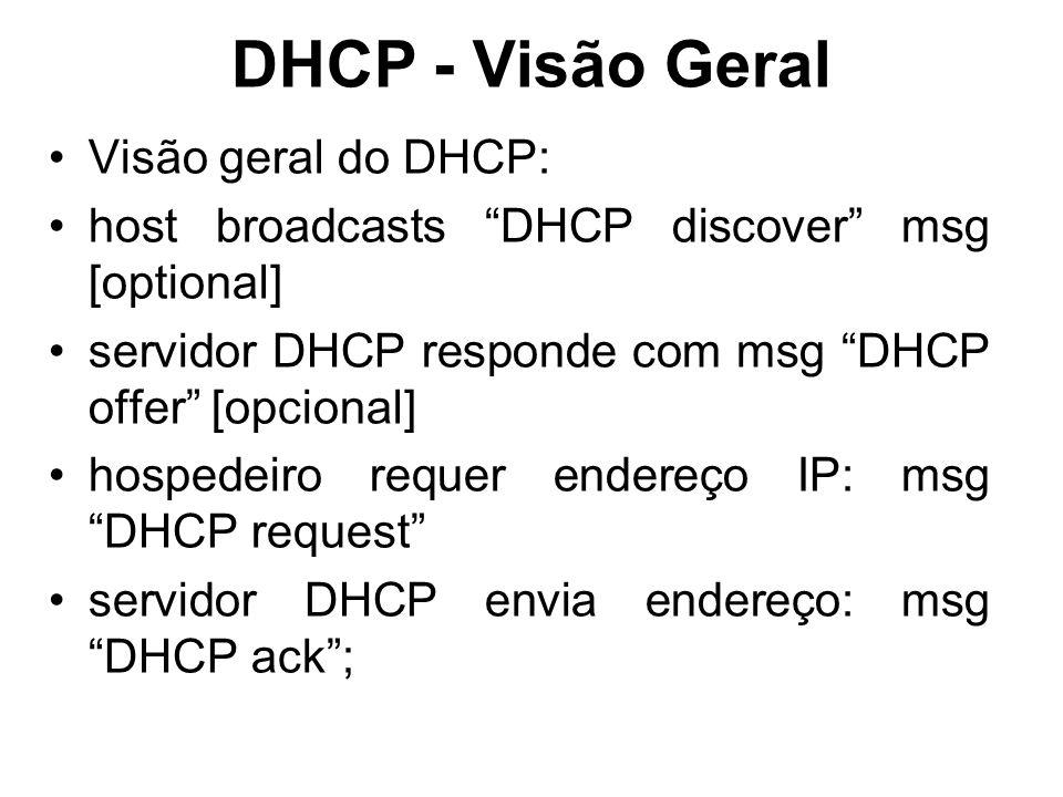 DHCP - Visão Geral Visão geral do DHCP: host broadcasts DHCP discover msg [optional] servidor DHCP responde com msg DHCP offer [opcional] hospedeiro requer endereço IP: msg DHCP request servidor DHCP envia endereço: msg DHCP ack ;