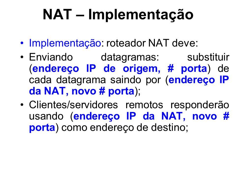 NAT – Implementação Implementação: roteador NAT deve: Enviando datagramas: substituir (endereço IP de origem, # porta) de cada datagrama saindo por (endereço IP da NAT, novo # porta); Clientes/servidores remotos responderão usando (endereço IP da NAT, novo # porta) como endereço de destino;