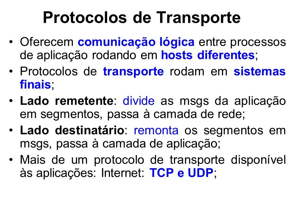 Protocolos de Transporte Oferecem comunicação lógica entre processos de aplicação rodando em hosts diferentes; Protocolos de transporte rodam em sistemas finais; Lado remetente: divide as msgs da aplicação em segmentos, passa à camada de rede; Lado destinatário: remonta os segmentos em msgs, passa à camada de aplicação; Mais de um protocolo de transporte disponível às aplicações: Internet: TCP e UDP;