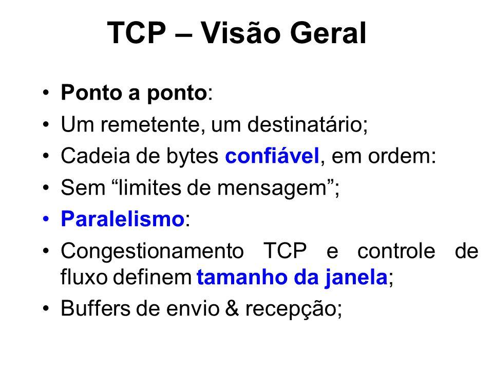 Ponto a ponto: Um remetente, um destinatário; Cadeia de bytes confiável, em ordem: Sem limites de mensagem ; Paralelismo: Congestionamento TCP e controle de fluxo definem tamanho da janela; Buffers de envio & recepção;