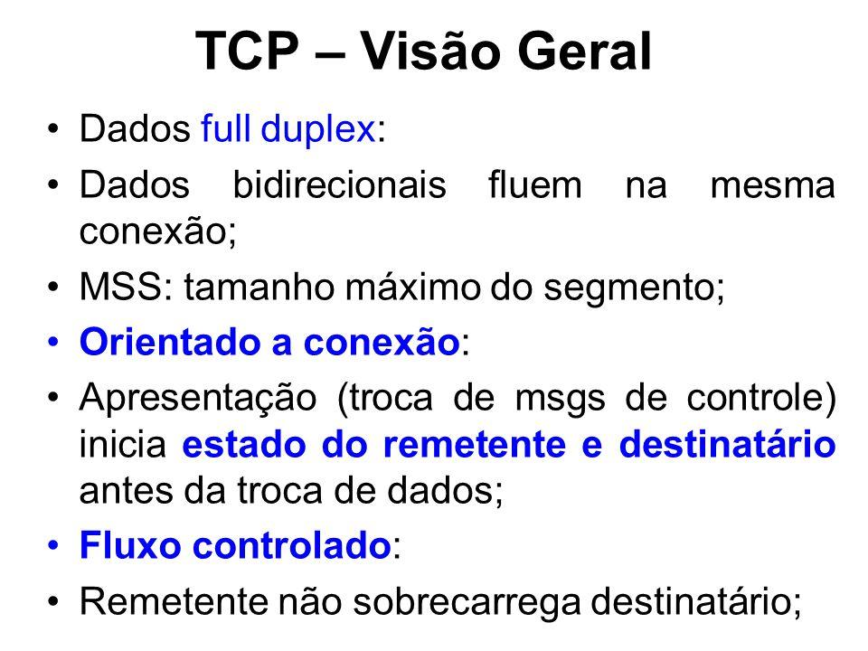 TCP – Visão Geral Dados full duplex: Dados bidirecionais fluem na mesma conexão; MSS: tamanho máximo do segmento; Orientado a conexão: Apresentação (troca de msgs de controle) inicia estado do remetente e destinatário antes da troca de dados; Fluxo controlado: Remetente não sobrecarrega destinatário;