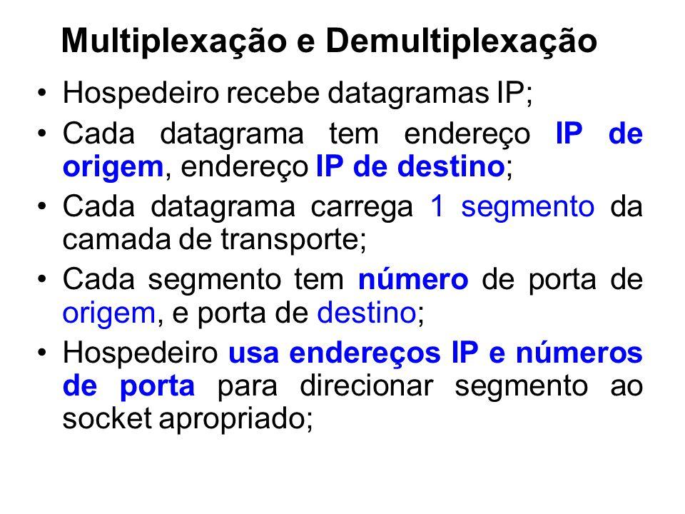 Multiplexação e Demultiplexação Hospedeiro recebe datagramas IP; Cada datagrama tem endereço IP de origem, endereço IP de destino; Cada datagrama carrega 1 segmento da camada de transporte; Cada segmento tem número de porta de origem, e porta de destino; Hospedeiro usa endereços IP e números de porta para direcionar segmento ao socket apropriado;
