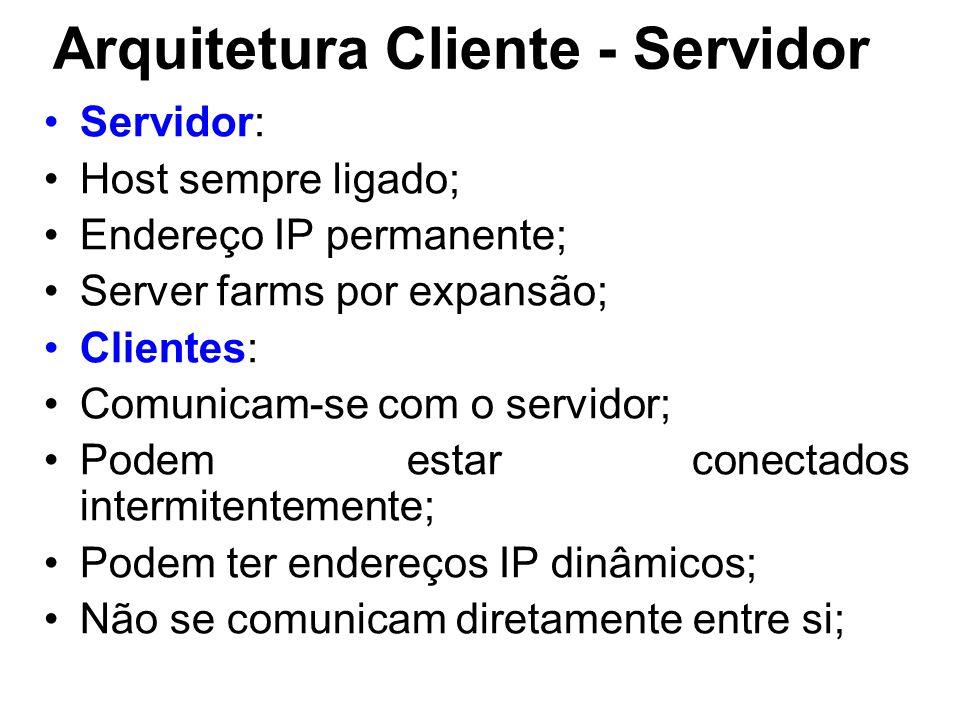 Arquitetura Cliente - Servidor Servidor: Host sempre ligado; Endereço IP permanente; Server farms por expansão; Clientes: Comunicam-se com o servidor; Podem estar conectados intermitentemente; Podem ter endereços IP dinâmicos; Não se comunicam diretamente entre si;