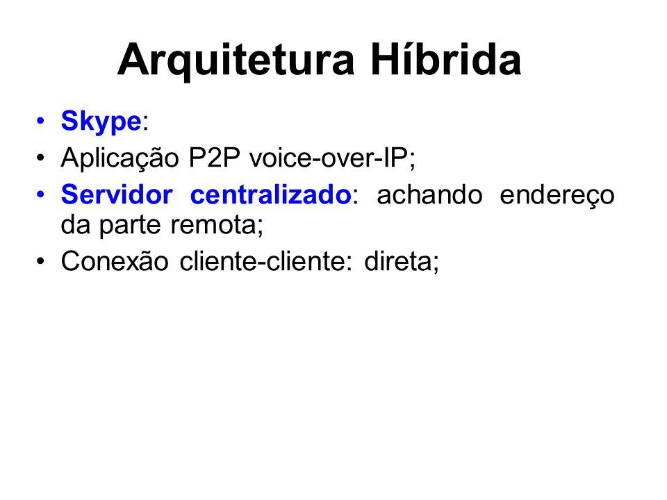 Arquitetura Híbrida Skype: Aplicação P2P voice-over-IP; Servidor centralizado: achando endereço da parte remota; Conexão cliente-cliente: direta;