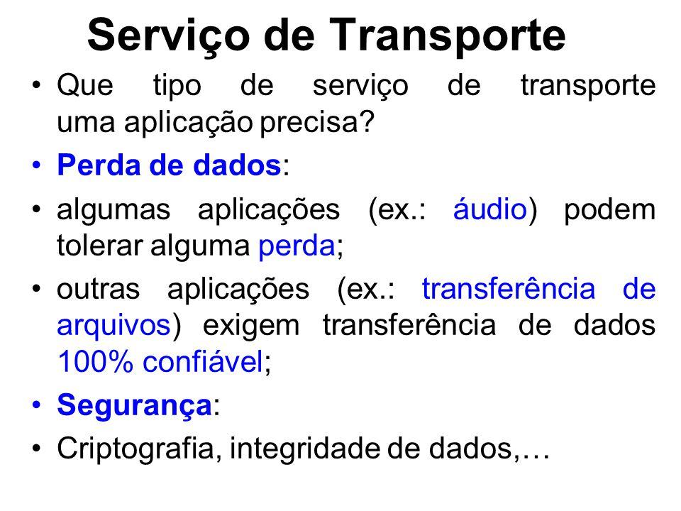 Serviço de Transporte Que tipo de serviço de transporte uma aplicação precisa? Perda de dados: algumas aplicações (ex.: áudio) podem tolerar alguma pe