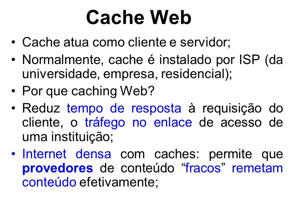 Cache Web Cache atua como cliente e servidor; Normalmente, cache é instalado por ISP (da universidade, empresa, residencial); Por que caching Web.