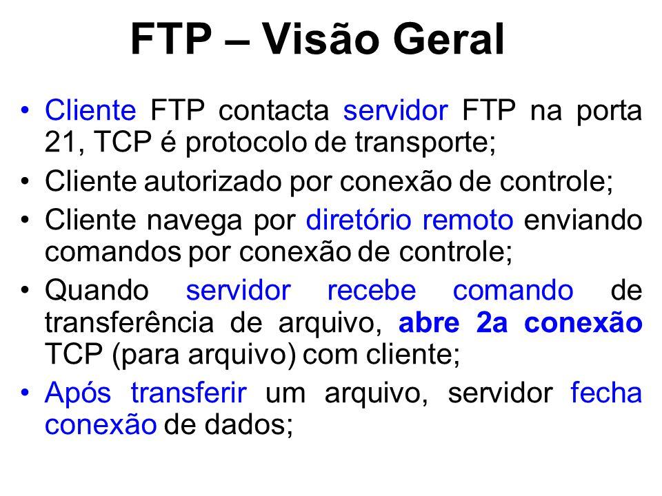 FTP – Visão Geral Cliente FTP contacta servidor FTP na porta 21, TCP é protocolo de transporte; Cliente autorizado por conexão de controle; Cliente navega por diretório remoto enviando comandos por conexão de controle; Quando servidor recebe comando de transferência de arquivo, abre 2a conexão TCP (para arquivo) com cliente; Após transferir um arquivo, servidor fecha conexão de dados;