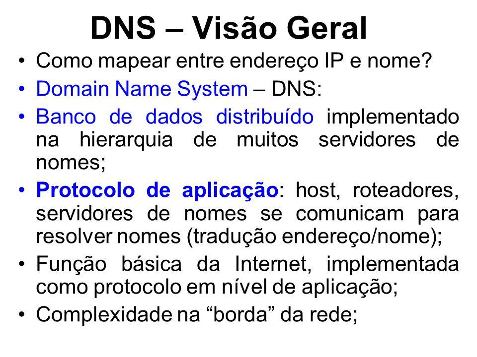 DNS – Visão Geral Como mapear entre endereço IP e nome? Domain Name System – DNS: Banco de dados distribuído implementado na hierarquia de muitos serv