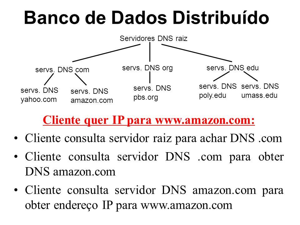 Banco de Dados Distribuído Servidores DNS raiz servs. DNS com servs. DNS orgservs. DNS edu servs. DNS poly.edu servs. DNS umass.edu servs. DNS yahoo.c