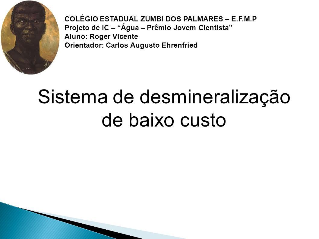 """Sistema de desmineralização de baixo custo COLÉGIO ESTADUAL ZUMBI DOS PALMARES – E.F.M.P Projeto de IC – """"Água – Prêmio Jovem Cientista"""" Aluno: Roger"""
