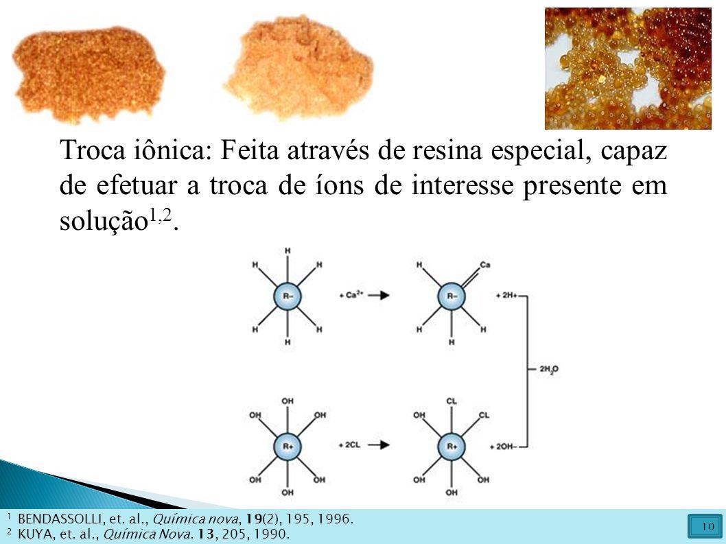 Troca iônica: Feita através de resina especial, capaz de efetuar a troca de íons de interesse presente em solução 1,2. 1 BENDASSOLLI, et. al., Química