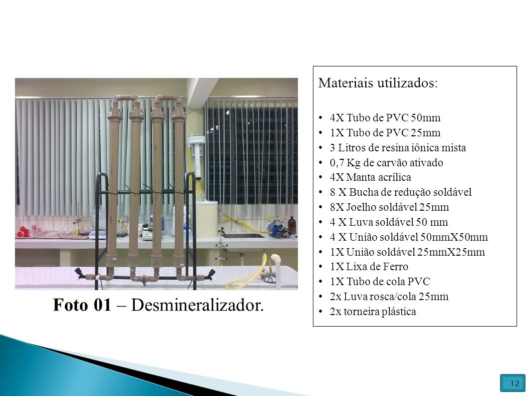 Materiais utilizados: 4X Tubo de PVC 50mm 1X Tubo de PVC 25mm 3 Litros de resina iônica mista 0,7 Kg de carvão ativado 4X Manta acrílica 8 X Bucha de