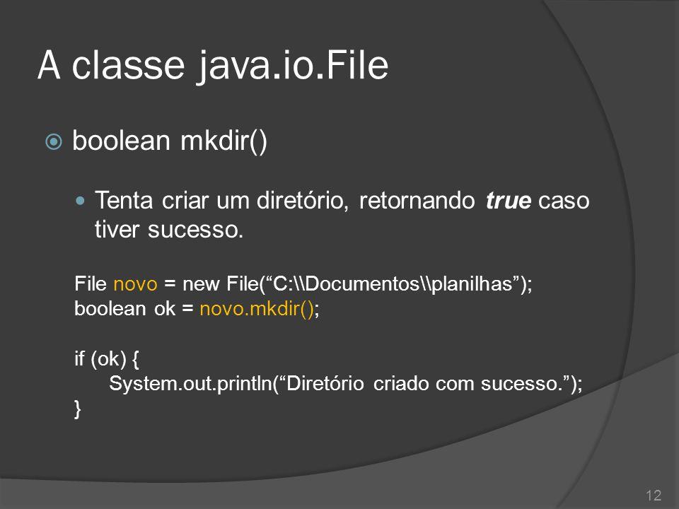 """A classe java.io.File  boolean mkdir() Tenta criar um diretório, retornando true caso tiver sucesso. File novo = new File(""""C:\\Documentos\\planilhas"""""""