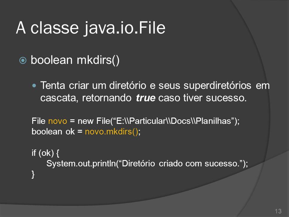A classe java.io.File  boolean mkdirs() Tenta criar um diretório e seus superdiretórios em cascata, retornando true caso tiver sucesso. File novo = n