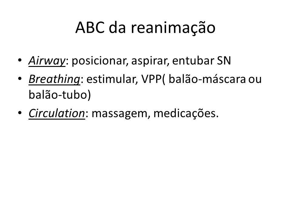 ABC da reanimação Airway: posicionar, aspirar, entubar SN Breathing: estimular, VPP( balão-máscara ou balão-tubo) Circulation: massagem, medicações.
