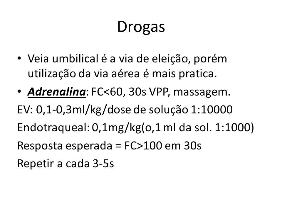 Drogas Veia umbilical é a via de eleição, porém utilização da via aérea é mais pratica. Adrenalina: FC<60, 30s VPP, massagem. EV: 0,1-0,3ml/kg/dose de