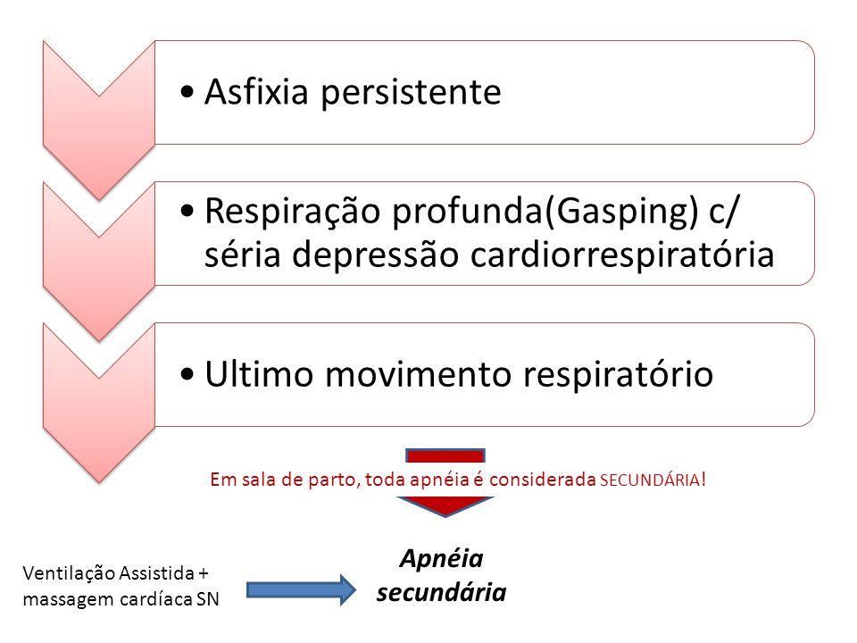 Asfixia persistente Respiração profunda(Gasping) c/ séria depressão cardiorrespiratória Ultimo movimento respiratório Apnéia secundária Ventilação Ass