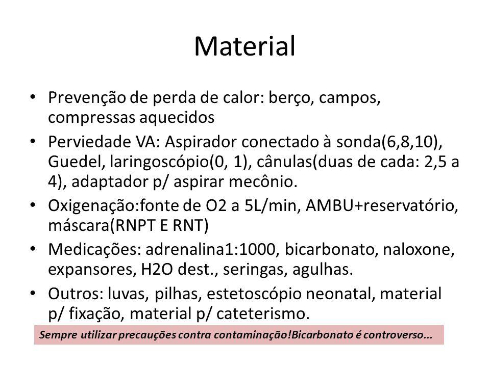 Material Prevenção de perda de calor: berço, campos, compressas aquecidos Perviedade VA: Aspirador conectado à sonda(6,8,10), Guedel, laringoscópio(0,