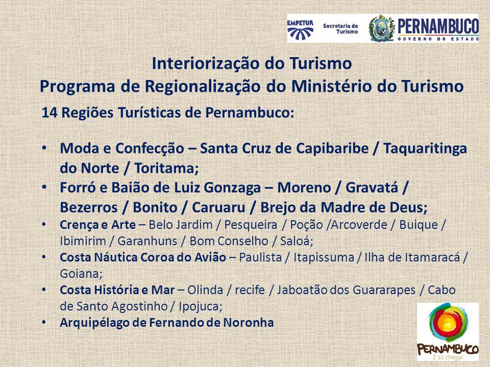 14 Regiões Turísticas de Pernambuco: Moda e Confecção – Santa Cruz de Capibaribe / Taquaritinga do Norte / Toritama; Forró e Baião de Luiz Gonzaga – M