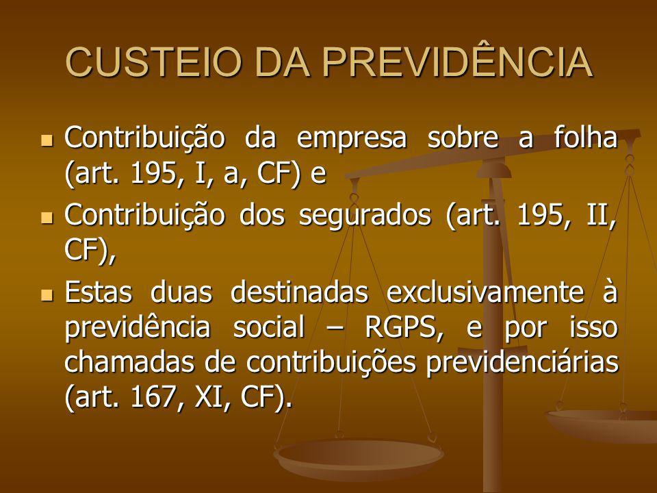 CUSTEIO DA PREVIDÊNCIA Contribuição da empresa sobre a folha (art. 195, I, a, CF) e Contribuição da empresa sobre a folha (art. 195, I, a, CF) e Contr