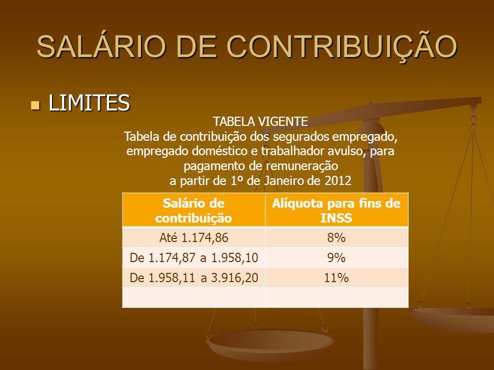 SALÁRIO DE CONTRIBUIÇÃO LIMITES LIMITES Salário de contribuição Alíquota para fins de INSS Até 1.174,868% De 1.174,87 a 1.958,109% De 1.958,11 a 3.916