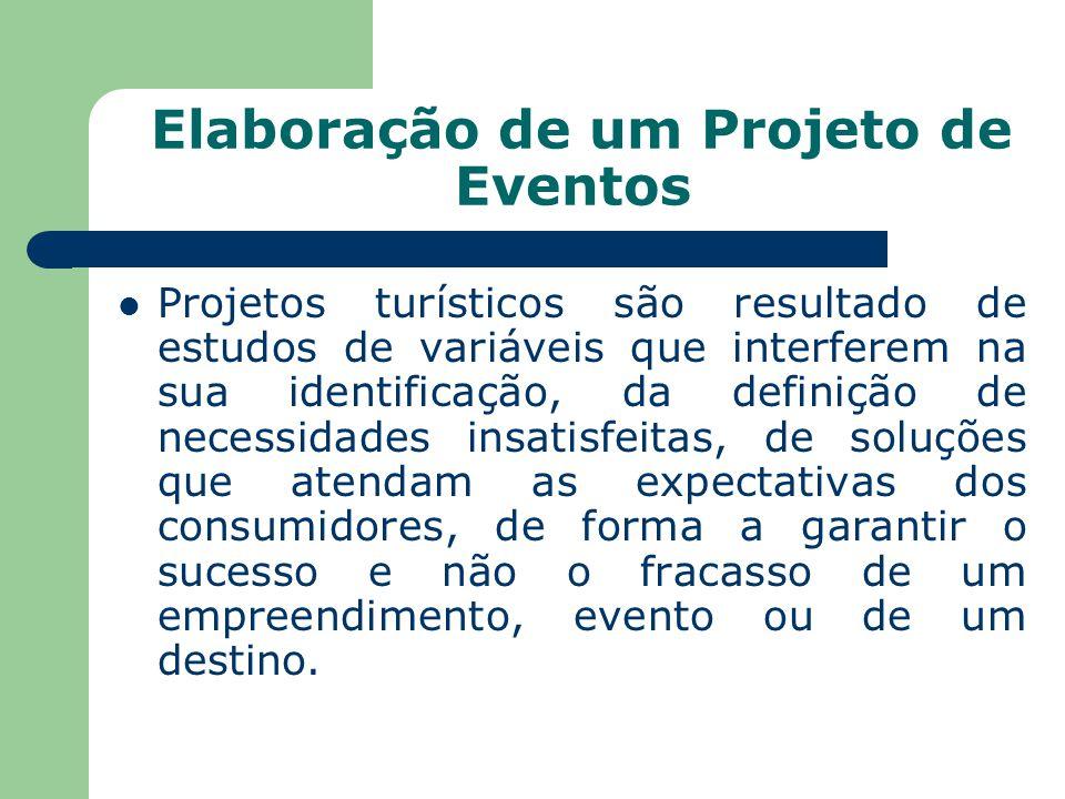 Elaboração de um Projeto de Eventos Projetos turísticos são resultado de estudos de variáveis que interferem na sua identificação, da definição de necessidades insatisfeitas, de soluções que atendam as expectativas dos consumidores, de forma a garantir o sucesso e não o fracasso de um empreendimento, evento ou de um destino.